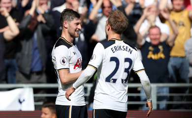 Tottenham's Ben Davies celebrates scoring their sixth goal with Christian Eriksen
