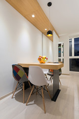 Dining area in modern apartment