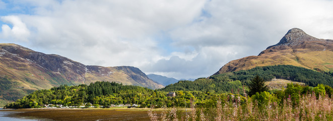 Partial panorama of Glencoe, in the highlands of Scotland