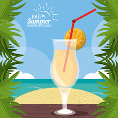 happy summer holidays poster. cocktail over table sand leaves palm beach vector illustration