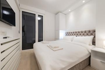 Double bed bedroom interior