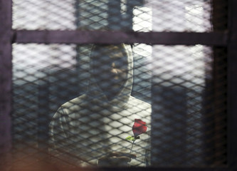 A defendant holds a rose during the retrial of activist Alaa abdel Fattah and others at a court in Cairo