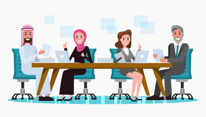 Arabic and Western Business people meeting at the big table. business teamwork and partnership concept. flat character design .Vector illustration