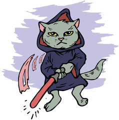 funny cartoon cat in the costume of the hero of the a fantastic film