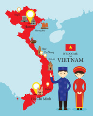 Vietnam Map and Landmarks with People in Traditional Clothing