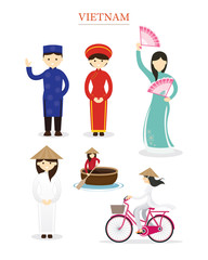 Vietnamese People in Traditional Clothing and Lifestyle