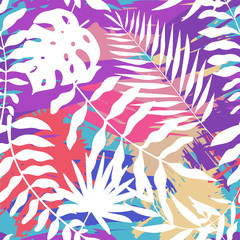 Seamless pattern with bright and colorful and abstract tropical leaves. Palm lea. Jungle theme. Botanical (floral). Fabric design, background, wallpaper. Vivid colors