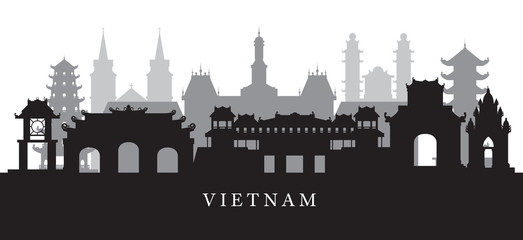 Vietnam Landmarks Skyline in Black and White Silhouette
