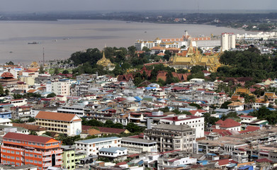 An overview of Phnom Penh city and the Mekong river