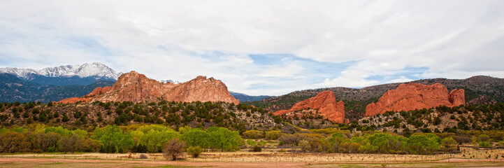 Panorama of Garden of the Gods and Pikes Peak
