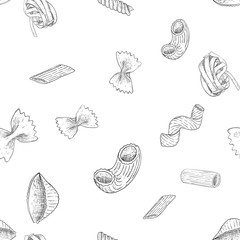 Pasta collection. Hand drawn outline vintage sketch. Seamless pattern