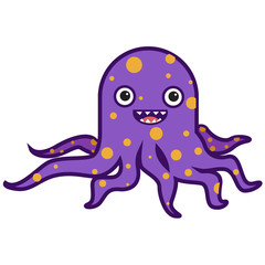 Funny cartoon octopus character isolated on a white background