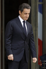 France's President  Sarkozy waits for guests at the Elysee Palace ahead of wider international talks on Libya in Paris
