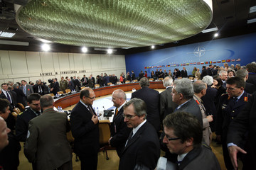 A general view of a roundtable meeting of NATO defense ministers at NATO headquarters in Brussels