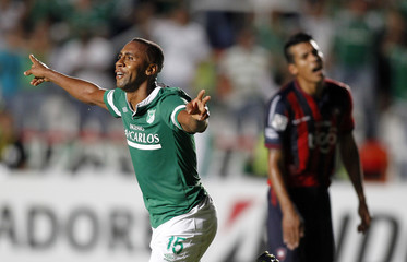 Viafara of Colombia's Deportivo Cali celebrates scoring a goal against Paraguay's Cerro Porteno during their Copa Libertadores soccer match in Cali