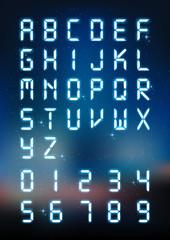 Glow digital alphabet and number for digital text, technology font concept, vector illustration