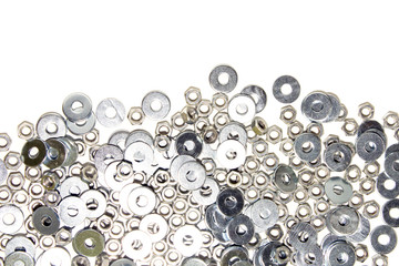 Metal washers on a white background