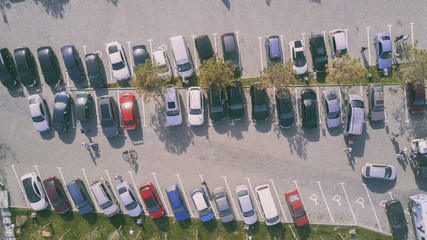 Cars on the parking. Bird eye view