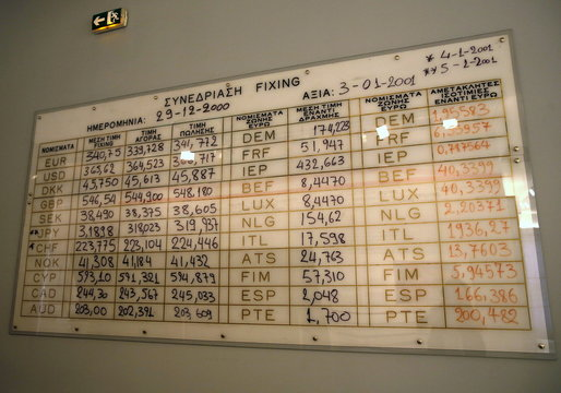 A trading board showing the last foreign exchange fixing before Greece joined the Eurozone is displayed at the Museum of the Bank of Greece in Athens