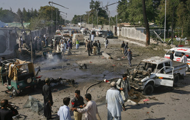 A view from the top of a fire truck shows the site of a double suicide bombing in Quetta