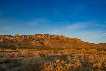 Sandia Mountains at sunset with blue sky