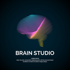 Vector logo brain color silhouette