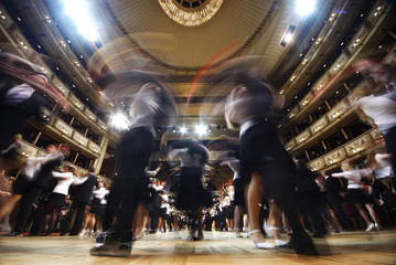 Dancers of the Young Ladies' and Young Gentlemen's Committee perform during a dress rehearsal for the traditional Opera Ball in Vienna
