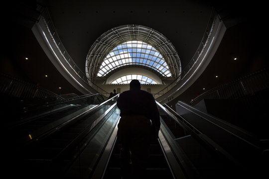 Attendee leaves the Hispanic Business & Consumer Expo in at Orange County Convention Center in Orlando