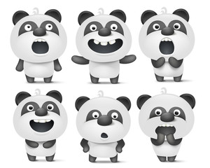 Set of cute cartoon panda characters with various emotions