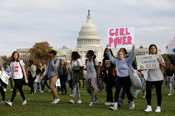 Students protest the election of President-elect Donald Trump during a march in Washington.