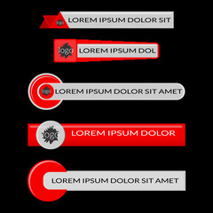 Red lower third banners isolated on black background