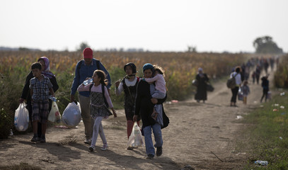 Migrants walk on a dirt road close to the Croatian border near the town of Sid
