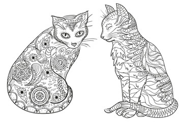 Zen cats. Design Zentangle. Hand drawn cat with abstract patterns on isolation background. Design for spiritual relaxation for adults.  Black and white illustration for coloring. Zen art