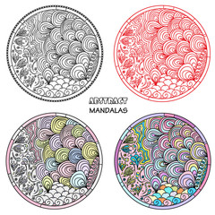 Set. Zendala. Zentangle. Hand drawn circle mandala with abstract patterns on isolation background. Design for spiritual relaxation for adults. Line art. Black and white illustration for coloring.
