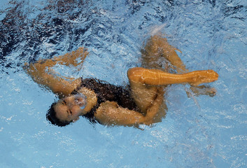 Spain's Fuentes performs during synchronised swimming solo free final at 14th FINA World Championships in Shanghai