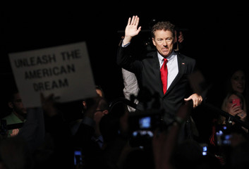 U.S. Senator Paul arrives on stage before announcing candidacy for president during an event in Louisville