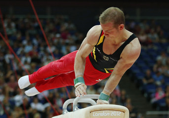 Fabian Hambuchen of Germany competes in the pommel horse during the men's individual all-around gymnastics final at the London 2012 Olympic Games