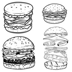 Set of burger illustrations. Design elements for poster,menu, label, badge, sign. Vector illustration