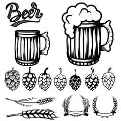 Set of components for beer labels design. Beer mugs, hops, wheat. Vector illustration