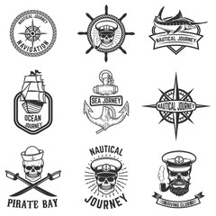 set of nautical emblems. Design elements for logo, label, emblem, sign, badge. Vector illustration