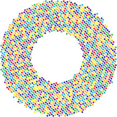 Circle with dots for Design Project. Halftone effect vector illustration. Colorful dots on white background. Colrful Sunburst background. Round frame design template.