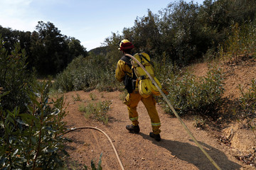 A Cal Fire firefighter pulls a hose as crews continue to battle the Loma Fire near Santa Cruz