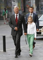Belgium's King Philippe accompanies Crown Princess Elisabeth to the Sint-Jan Berchmans school in Brussels