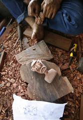 Mah Meri wood carving lies in a workshop in the Mah Meri tribe village of Sungai Bumbun on Carey Island, outside Kuala Lumpur