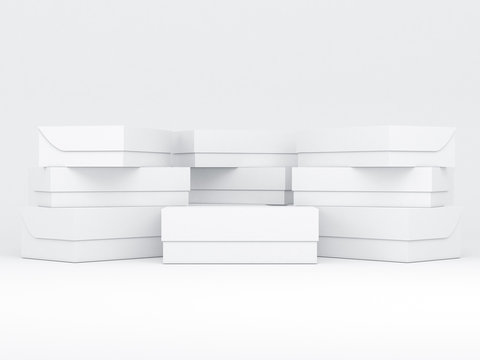 Stack of White shoe boxes packaging Mockup, 3d rendering
