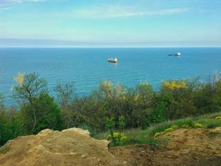High angle view sea sky and seaside bay