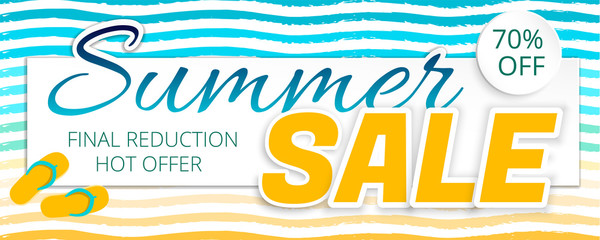 Summer sale advertising poster in a maritime color. Striped background. Vector illustration with isolated elements