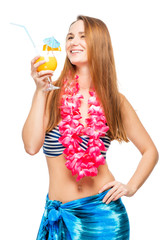 Cheerful girl on Hawaiian party with cocktail on white background