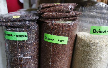 Quinoa is display in a market in Surquillo Lima's district