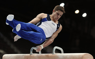 Brooks of the U.S. performs on the pommel horse during the men's qualifying round of the Artistic Gymnastics World Championships in Rotterdam